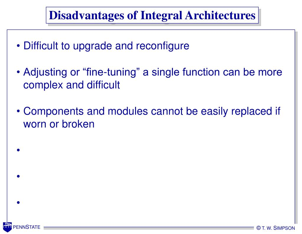 Disadvantages of Integral Architectures