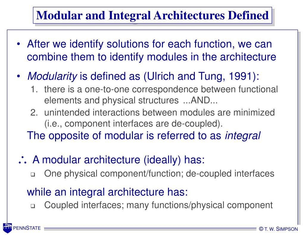 Modular and Integral Architectures Defined