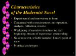 characteristics of the modernist novel