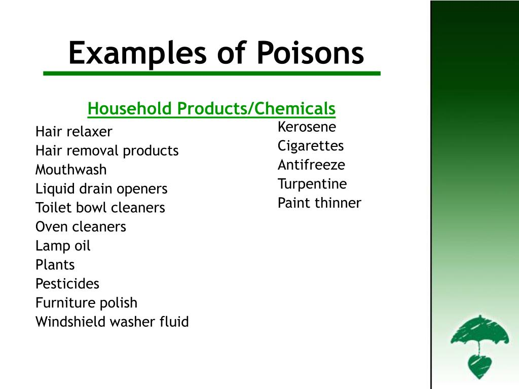 Examples of Poisons