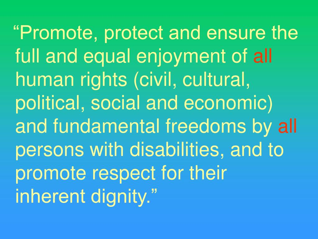 """""""Promote, protect and ensure the full and equal enjoyment of"""