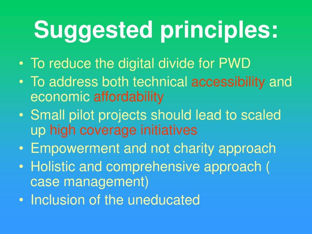 Suggested principles:
