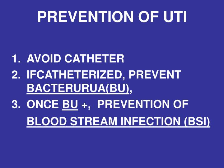 Prevention of uti