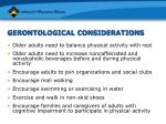 gerontological considerations