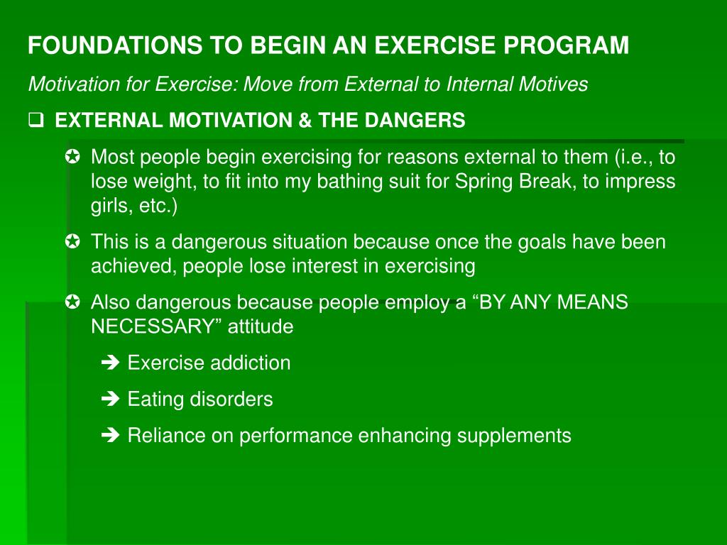 FOUNDATIONS TO BEGIN AN EXERCISE PROGRAM