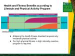 health and fitness benefits according to lifestyle and physical activity program