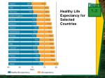 healthy life expectancy for selected countries