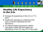 healthy life expectancy in the u s