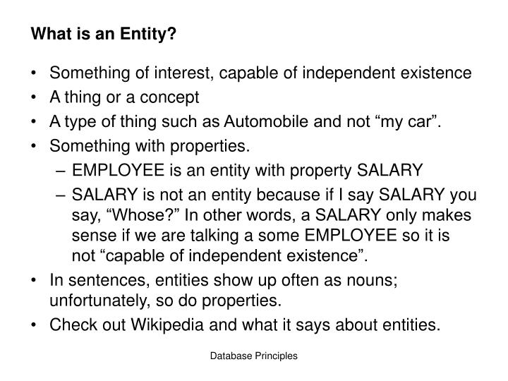 What is an entity