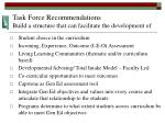 task force recommendations build a structure that can facilitate the development of