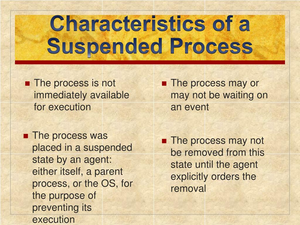 Characteristics of a Suspended Process