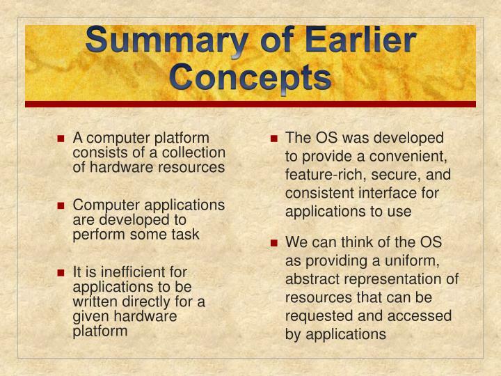 Summary of earlier concepts