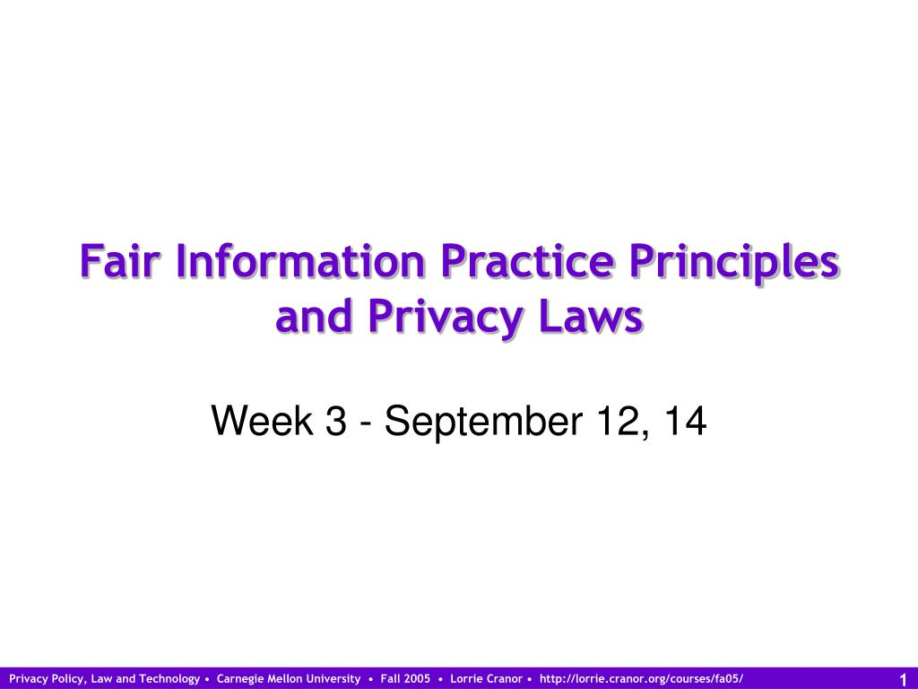 fair information practice principles and privacy laws l.