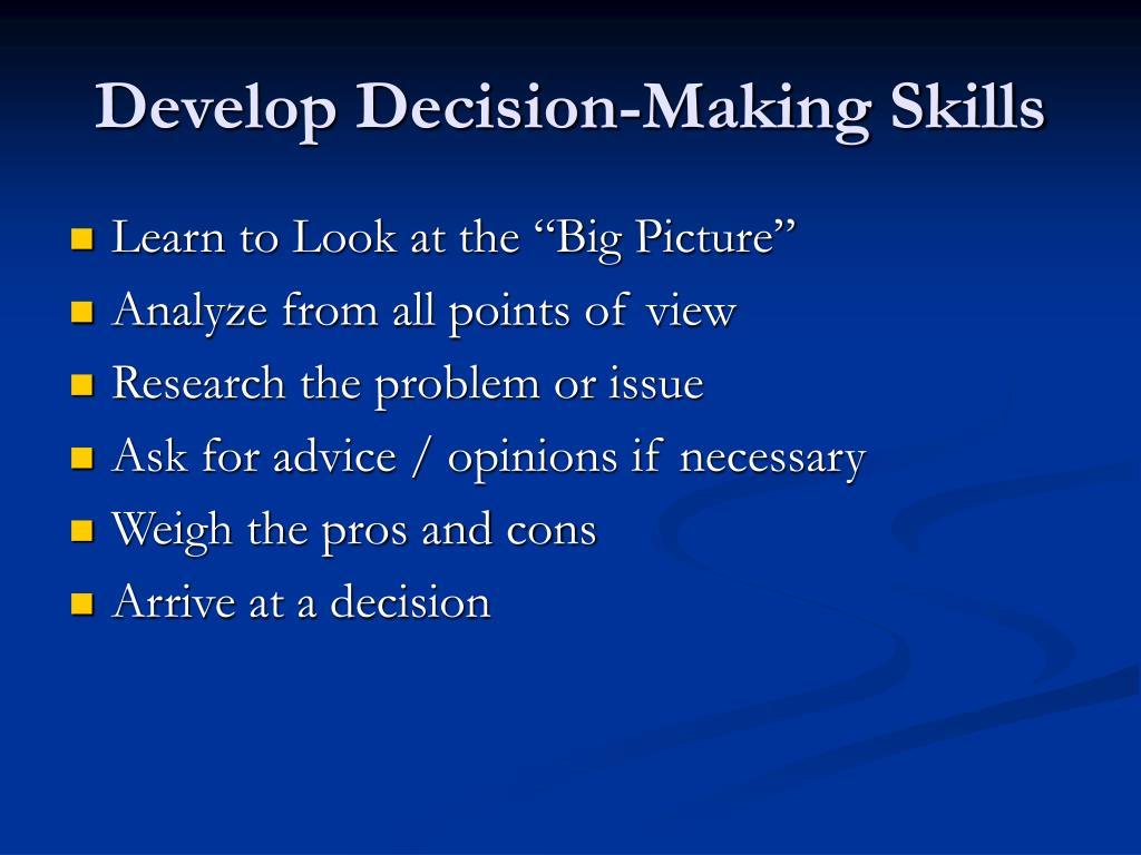 Develop Decision-Making Skills