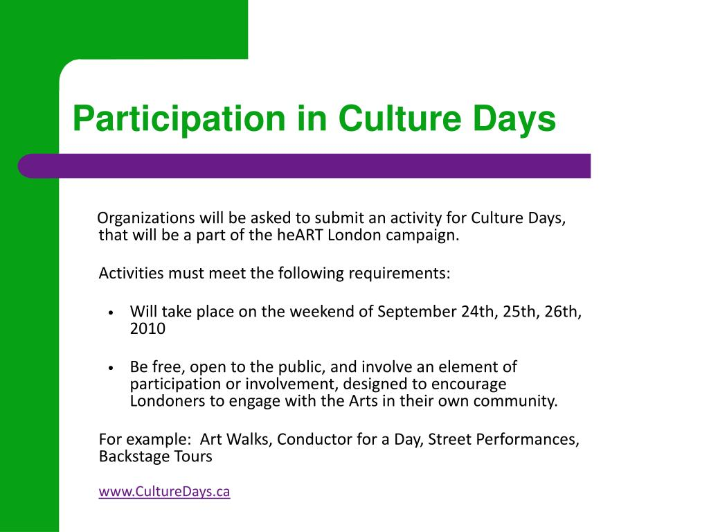 Participation in Culture Days