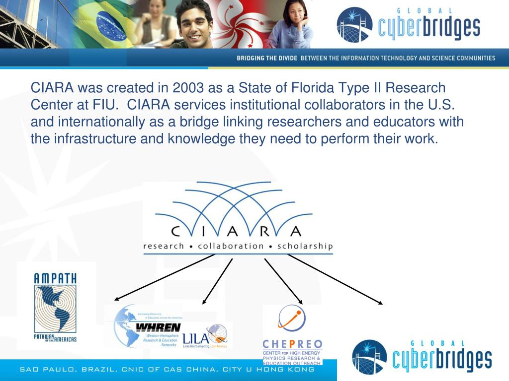 CIARA was created in 2003 as a State of Florida Type II Research Center at FIU.  CIARA services institutional collaborators in the U.S. and internationally as a bridge linking researchers and educators with the infrastructure and knowledge they need to perform their work.