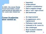 in 2001 the jones study found secondary career and technical education in st louis was viewed as