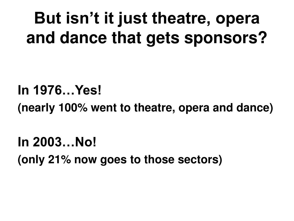 But isn't it just theatre, opera and dance that gets sponsors?