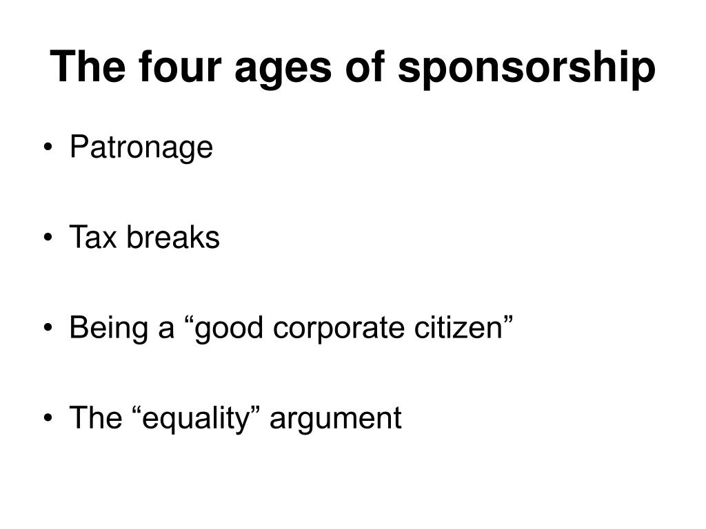 The four ages of sponsorship