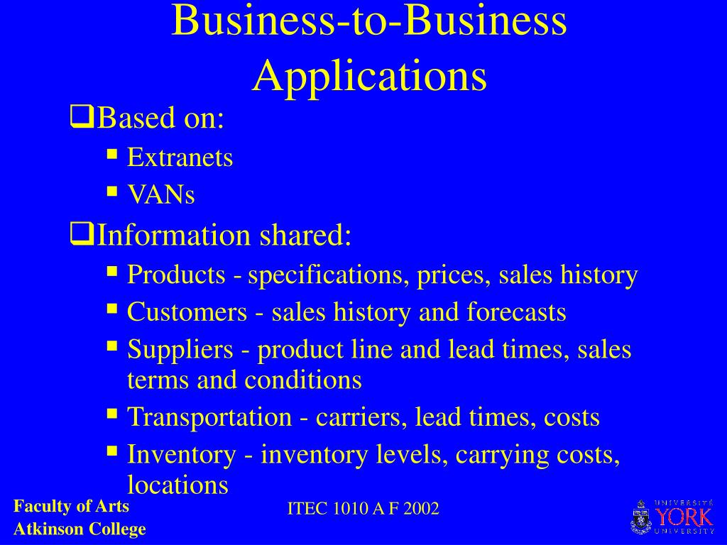 Business-to-Business Applications