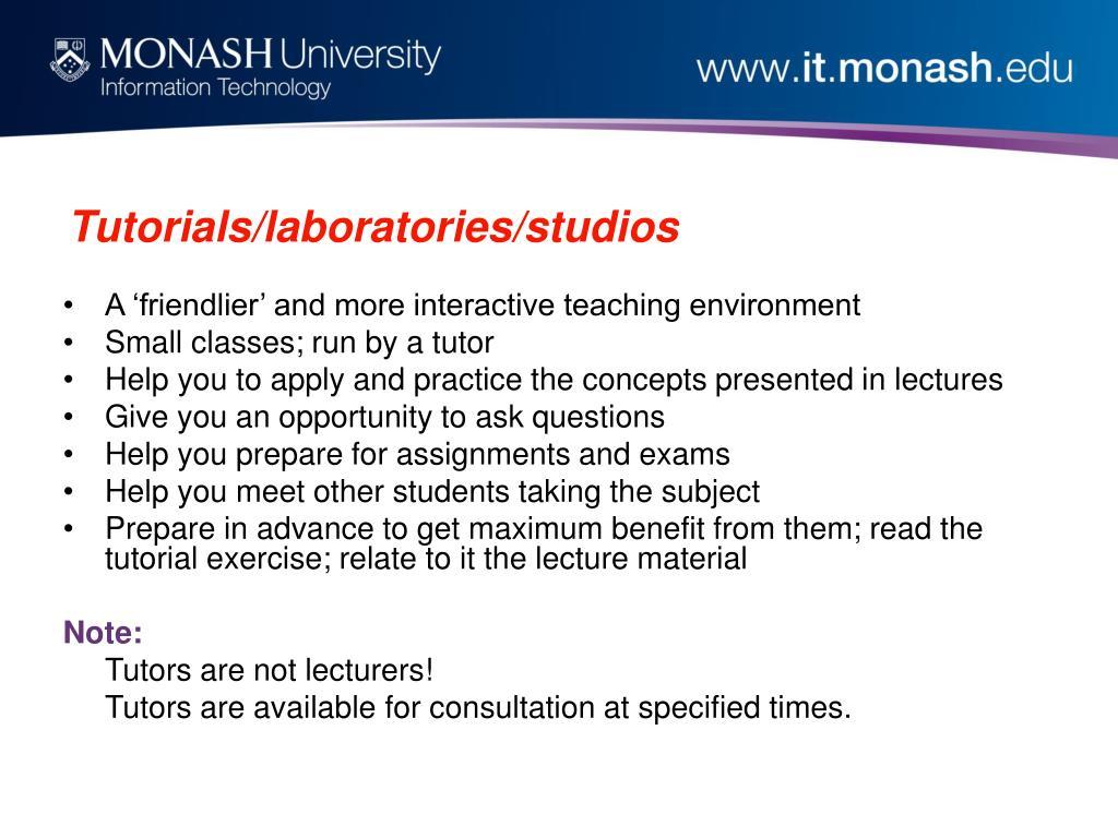 Tutorials/laboratories/studios