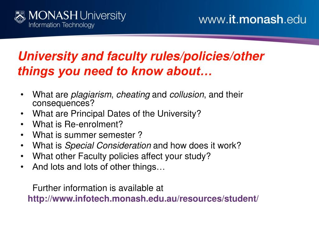 University and faculty rules/policies/other things you need to know about…