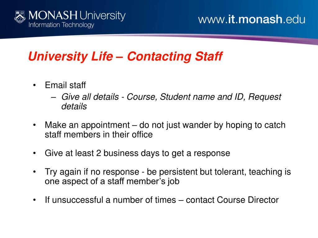 University Life – Contacting Staff