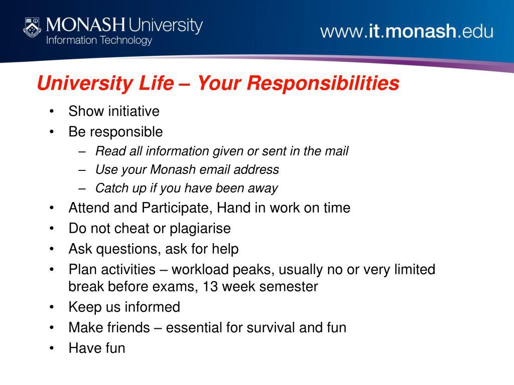 University Life – Your Responsibilities
