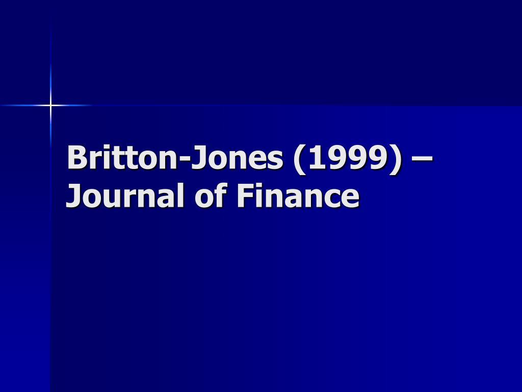 Britton-Jones (1999) – Journal of Finance
