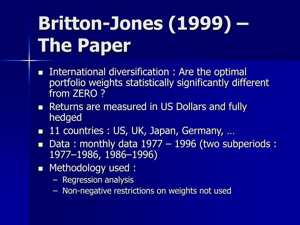 Britton-Jones (1999) – The Paper
