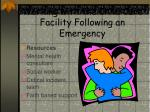 working with the child care facility following an emergency21