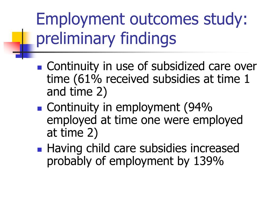 Employment outcomes study: preliminary findings