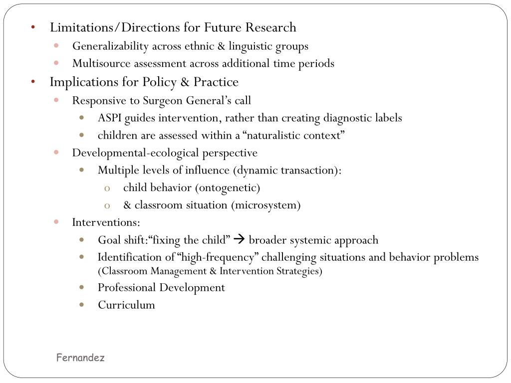 Limitations/Directions for Future Research