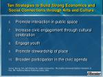 ten strategies to build strong economics and social connections through arts and culture27