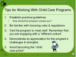 tips for working with child care programs