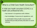 what is a child care health consultant