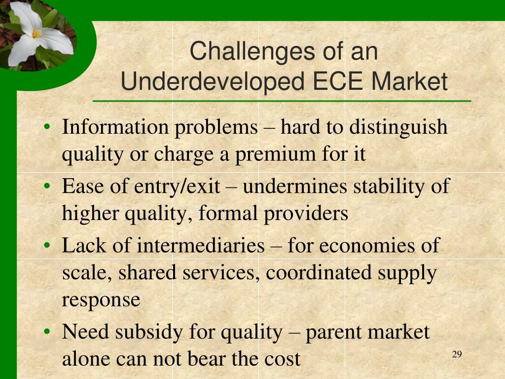 Challenges of an Underdeveloped ECE Market