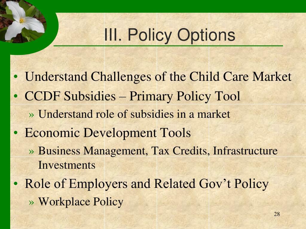 III. Policy Options