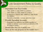 link government policy to quality