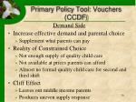 primary policy tool vouchers ccdf