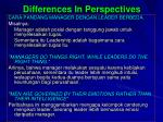 differences in perspectives