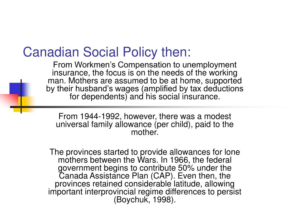 Canadian Social Policy then: