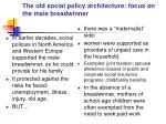 the old social policy architecture focus on the male breadwinner