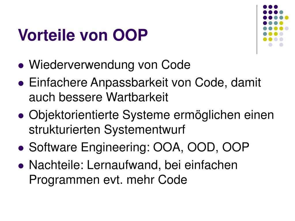 Vorteile von OOP
