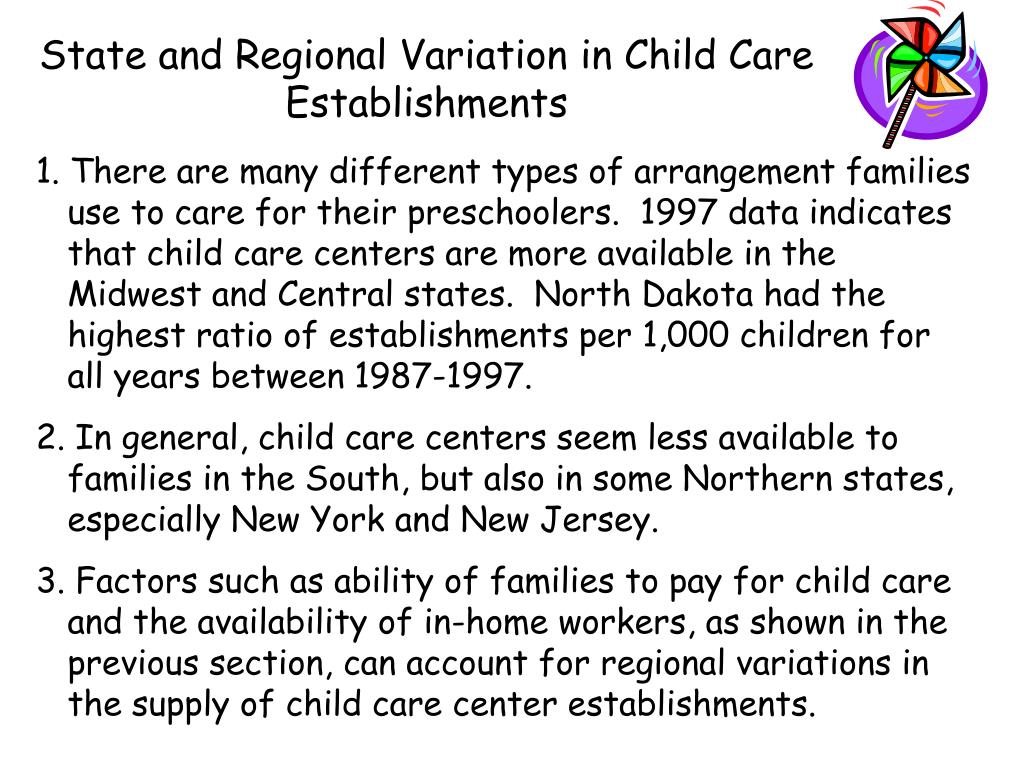 State and Regional Variation in Child Care Establishments