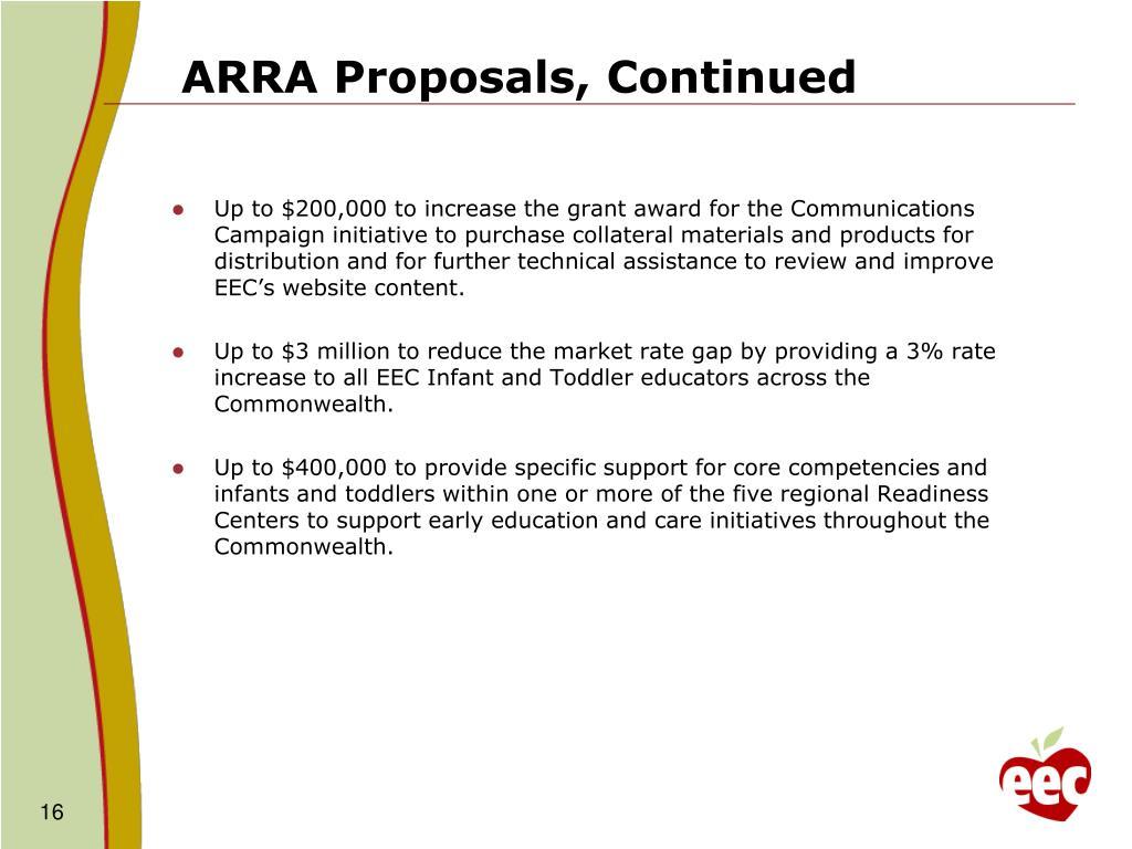ARRA Proposals, Continued