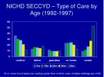 nichd seccyd type of care by age 1992 1997