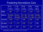 predicting nonrelative care
