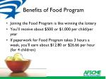 benefits of food program