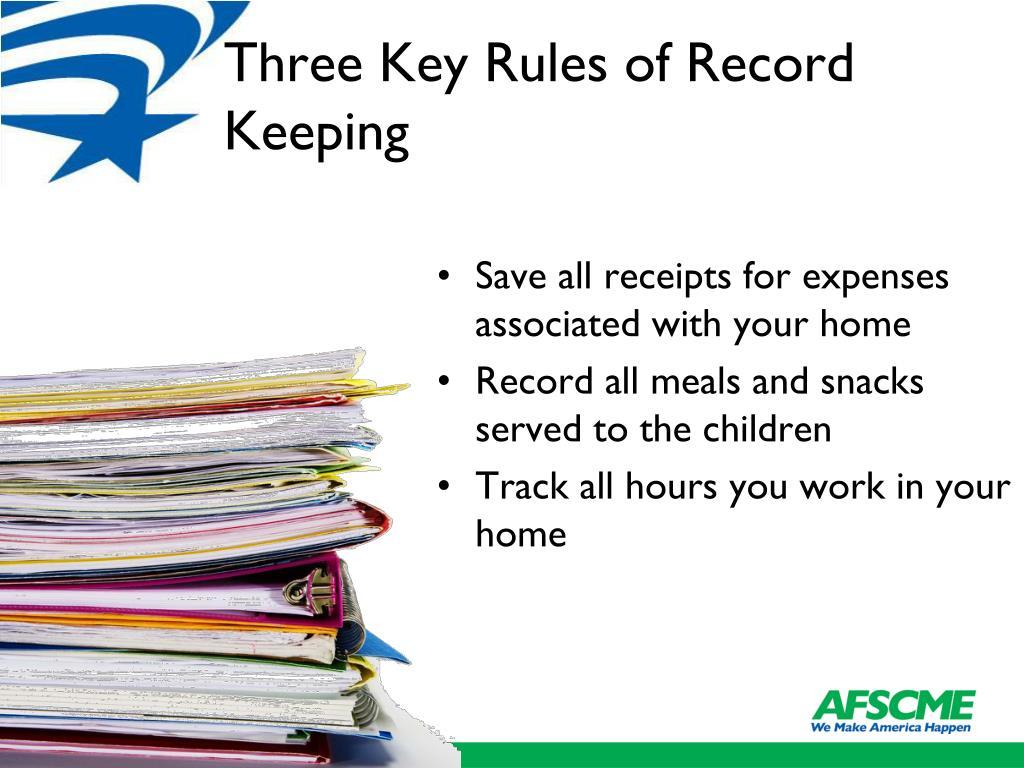 Three Key Rules of Record Keeping